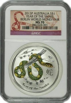 2013 1 oz Australian Silver Colorized Year of the Snake Coin NGC MS-70 - Berlin World Money Fair