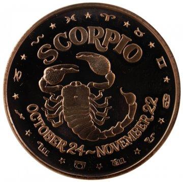 1 oz Scorpio Copper Round from the Zodiac Series