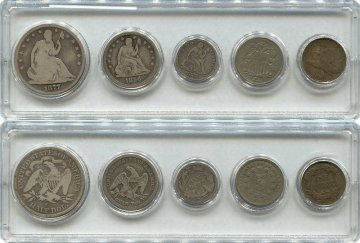 Five Coin Seated Liberty Type Set