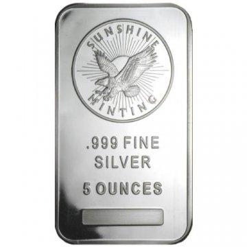 5 oz Silver Bar - Sunshine Minting - (Mint Mark SI™) Front