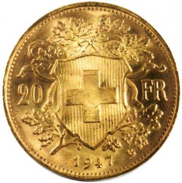 1897-1949 Swiss 20 Francs Helvetia Gold Coin - Random Date - Brilliant Uncirculated