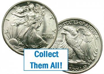 1940-S Walking Liberty Silver Half Dollar Coin - BU