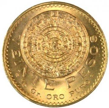 Mexican 20 Pesos Gold Coin - Random Date - BU